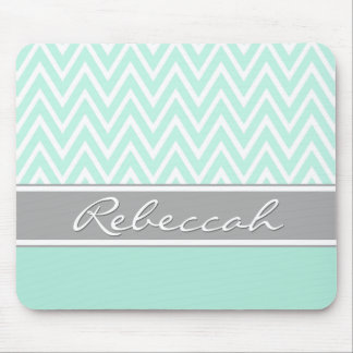 Mint Green White Chevron Zigzag Pattern Gray Name Mouse Mat