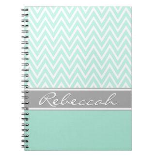 Mint Green White Chevron Zigzag Pattern Gray Name Notebook