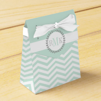 Mint green, white chevron zigzag pattern wedding favour box