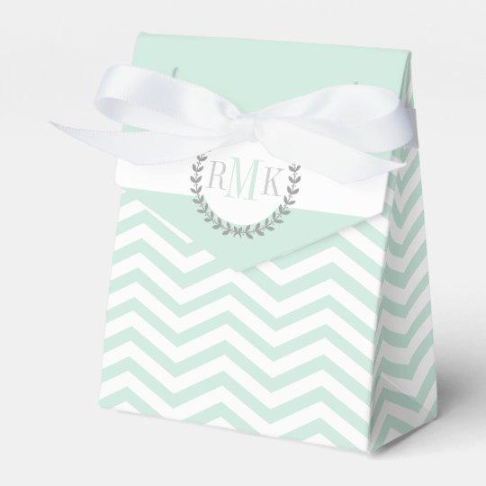 Mint green, white chevron zigzag pattern wedding favour