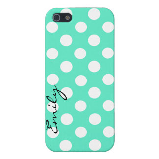 Mint Green & White Custom Polka Dot iPhone 5 Case
