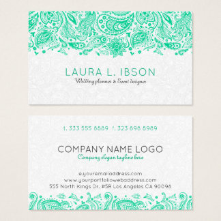 Mint-Green & White Floral Paisley Lace Business Card