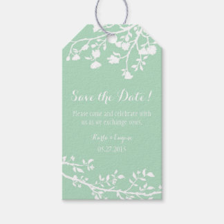 Mint Green White Flower Wedding Save The Date Tags