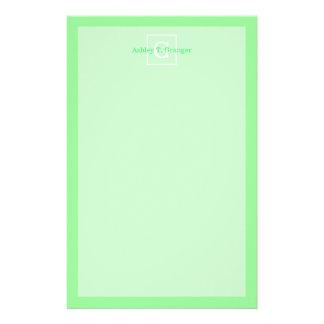 Mint Green White Framed Initial Monogram Custom Stationery