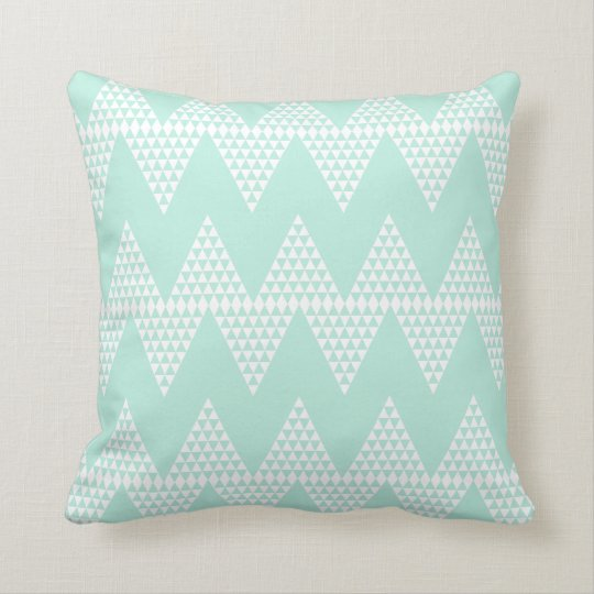 Mint Green White Geometric Chevron Pattern Cushion