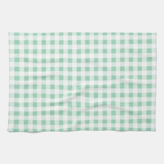 Mint Green White Gingham Pattern Tea Towel