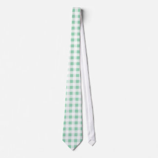 Mint Green White Gingham Pattern Tie
