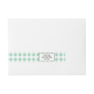 Mint Green White Gingham PatternMint Green Wraparound Address Label