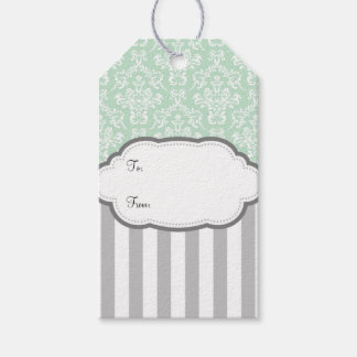 Mint Green White Gray Damask Stripe Gift Tags