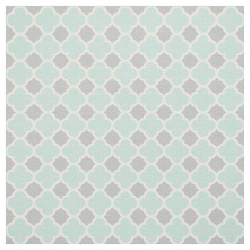 Mint Green White Grey Quatrefoil Pattern Fabric