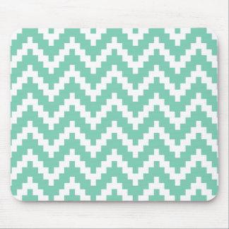 Mint-Green & White Ika Zigzag Geometric Pattern Mouse Pad