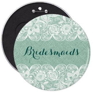 Mint-Green & White Lace Bridesmaids Button