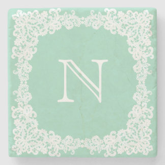Mint green & white lace custom coaster