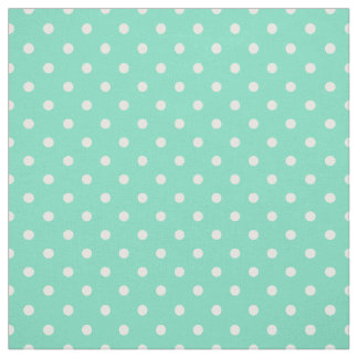 Mint Green White Polka Dot Spot Pattern Fabric