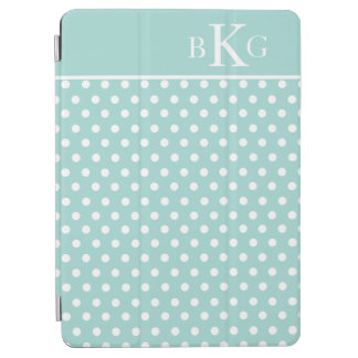 Mint Green White Polka Dots Custom Monogram iPad Air Cover