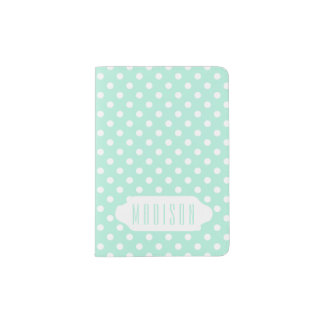 Mint green white polka dots custom passport holder
