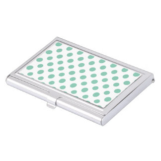 Mint Green White Polka Dots Pattern Business Card Holder