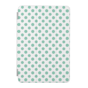 Mint Green White Polka Dots Pattern iPad Mini Cover
