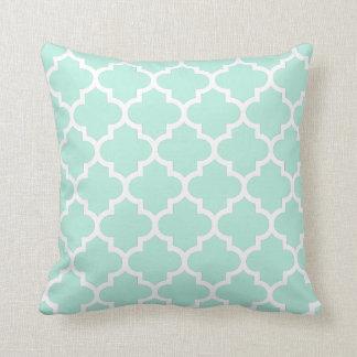 Mint Green & White Quatrefoil Pattern Pillow