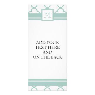 Mint Green, White Quatrefoil | Your Monogram Rack Card Template