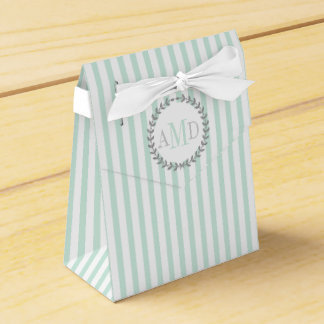 Mint green, white stripes monogram wedding favour box