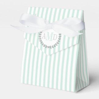 Mint green, white stripes monogram wedding party favour box