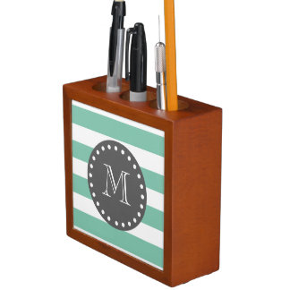 Mint Green White Stripes Pattern, Charcoal Monogra Desk Organiser