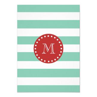 Mint Green White Stripes Pattern, Red Monogram 13 Cm X 18 Cm Invitation Card