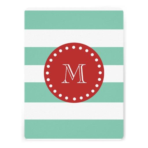 Mint Green White Stripes Pattern, Red Monogram Custom Invitations