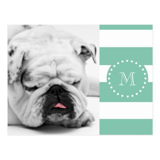 Mint Green White Stripes Pattern, Your Monogram Postcard