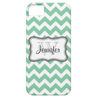 Mint Green & White Trendy chevron pattern iPhone 5 Case For The iPhone 5