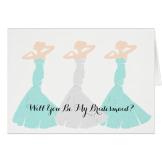 Mint Green Will You Be My Bridesmaid Note Cards