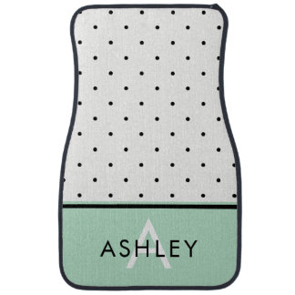 Mint Green with Black and White Polka Dots Car Mat