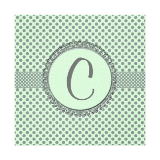 Mint Green With Grey Polka Dots-Monogram Gallery Wrap Canvas