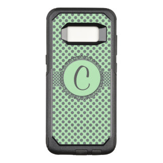 Mint Green with Grey Polka Dots-Monogram STaylor OtterBox Commuter Samsung Galaxy S8 Case