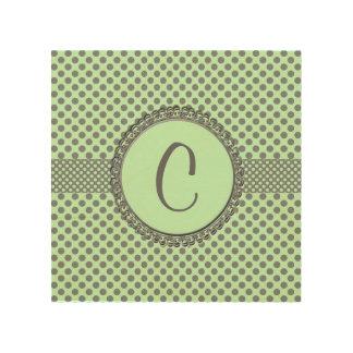 Mint Green With Polka Dots-Monogram Wood Prints