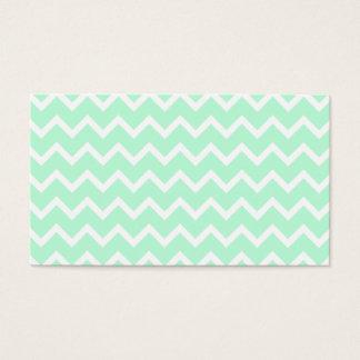 Mint Green Zigzag Chevron Stripes. Business Card