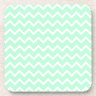 Mint Green Zigzag Chevron Stripes. Coaster
