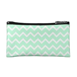 Mint Green Zigzag Chevron Stripes. Cosmetic Bag