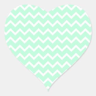 Mint Green Zigzag Chevron Stripes. Heart Sticker