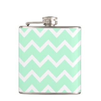 Mint Green Zigzag Chevron Stripes. Hip Flask
