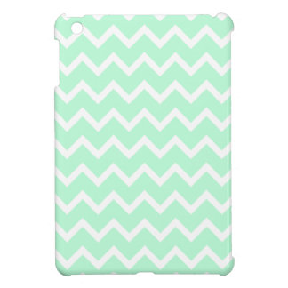 Mint Green Zigzag Chevron Stripes. iPad Mini Cases