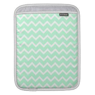 Mint Green Zigzag Chevron Stripes. iPad Sleeve