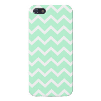 Mint Green Zigzag Chevron Stripes. iPhone 5/5S Covers
