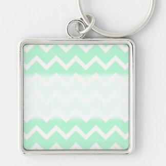 Mint Green Zigzag Chevron Stripes. Key Ring