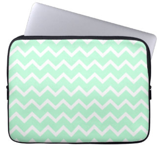 Mint Green Zigzag Chevron Stripes. Laptop Computer Sleeve