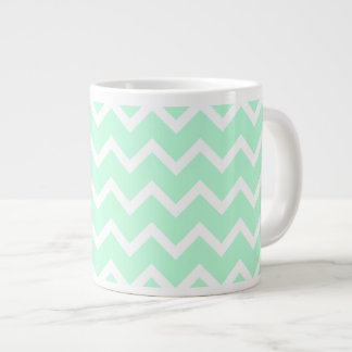Mint Green Zigzag Chevron Stripes. Large Coffee Mug