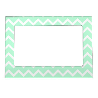 Mint Green Zigzag Chevron Stripes. Magnetic Photo Frame