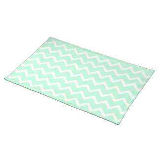 Mint Green Zigzag Chevron Stripes. Placemat