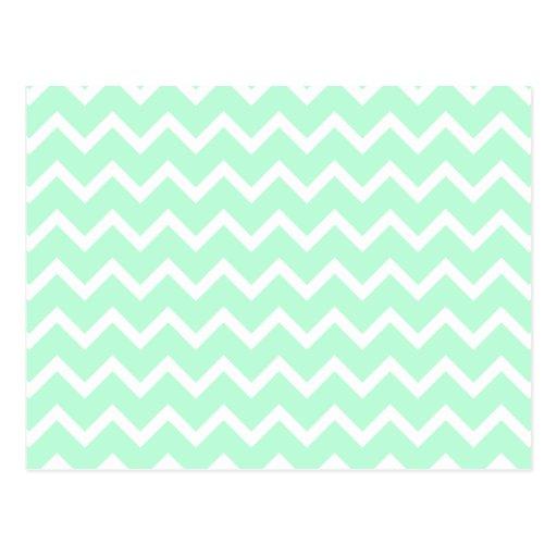 Mint Green Zigzag Chevron Stripes. Postcard